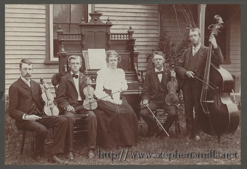Ralph Bacon, Alice Hathaway Bacon, Herbert Bacon, Myrtle Bacon, H Alton Bacon, Walter Bacon, Bacon family orchestra, Maplewood Farm, Stephens Mills, Woodstock Maine, Bryant Pond Maine